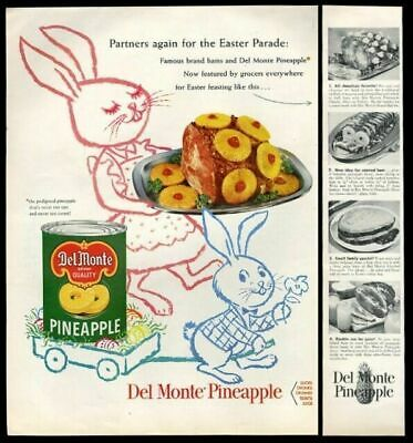 1954 Easter Bunny & young rabbit art Del Monte Pineapple vintage print ad