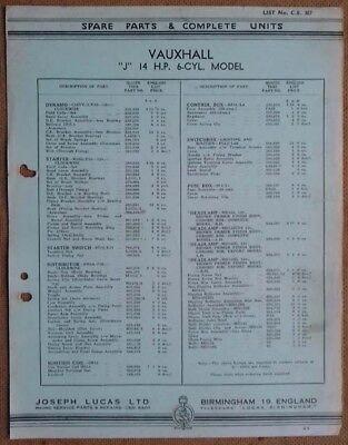 "Vauxhall  ""J"" 14hp 6 cyl model  1938/39?    Lucas Parts List 387"