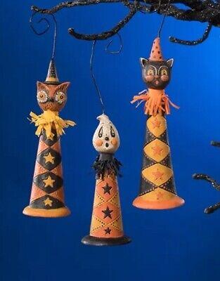 Bethany Lowe Johanna Parker Halloween Owl, Ghost, Black Cat Horn Ornaments—Set