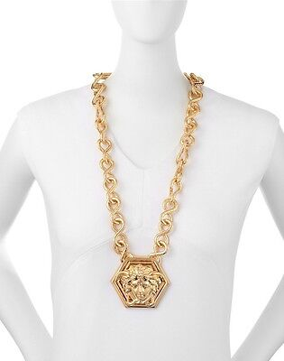 VERSACE xTHE HAAS BROTHERS LARGE SIGNATURE MEDUSA LOGO GOLD PENDANT NECKLACE