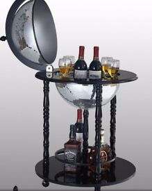 Bar Globe Drinks Cabinet Antique Vintage Mirror Glass Disco Design