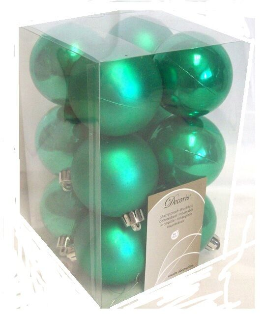 12 Luxury Shatterproof Christmas Baubles Tree Decorations 349352 Bright Green