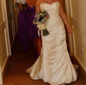 Mori Lee Ivory Satin Wedding Dress Size 10