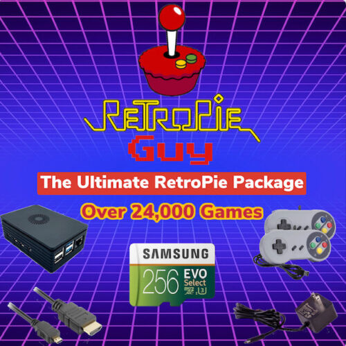 RetroPie Guy Ultimate 256GB Package - Raspberry Pi 4 Controllers Cables Games
