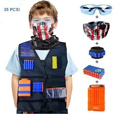 Kids Tactical Vest Kit for Nerf N-Strike Elite with Ammo, Clip, Mask, Glasses