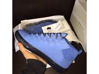 Blue Balenciaga Arena High Top Smooth Calfskin Leather Suede Ankle Men's Sneakers