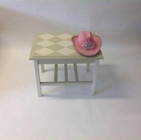 Upcycled Diamond Check Green Cream Coffee Table