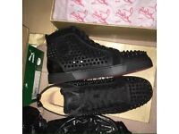 Christian Louboutin Shiny Moire High Top Black Studded Men's Designer Red Bottom Sneakers