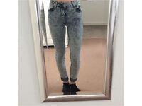 Acid wash super skinny jeans