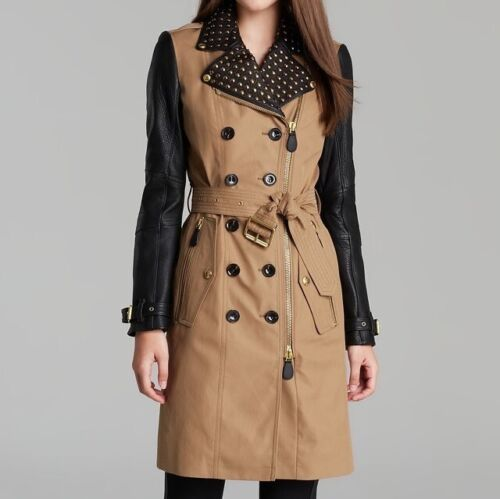 Trench coat burberry brit women lambskin and studded details fr40 uk10 2300 eur!