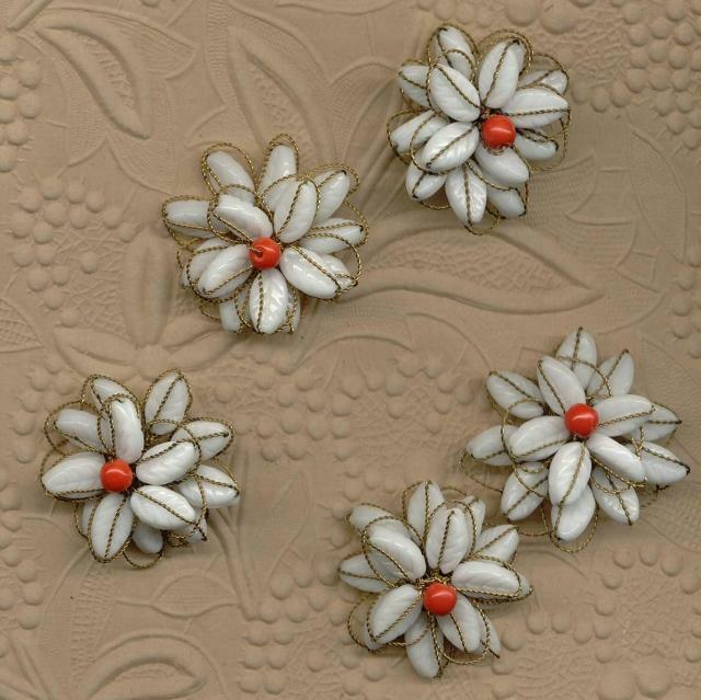 4 VINTAGE HASKELL White Glass Wired FLOWER BEADS CHARMS BEADED JEWELRY FINDINGS