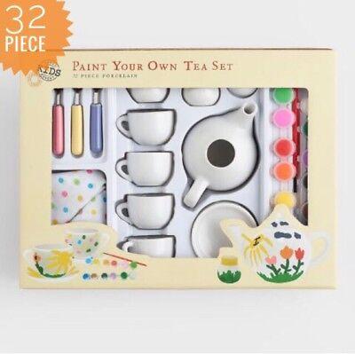 Paint Your Own Tea Cup (Paint Your Own Tea Set Kids - Porcelain 32 Piece - Inc Tea Pot Teacups)