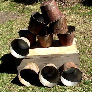 Vintage tin short and tall style sap buckets,crafts-whatever,$5