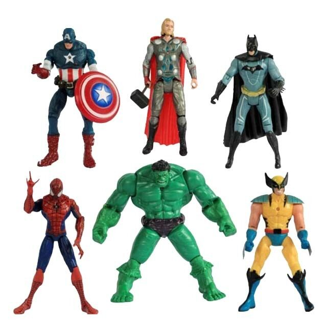 Super Hero Action Figure Hulk Thor Batman Spiderman Wolverine Captain America UK