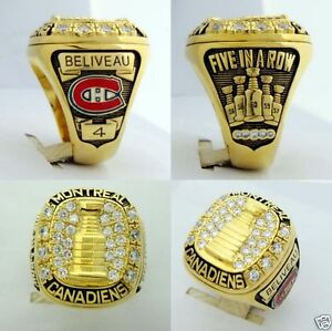 Jean Beliveau '5 in a row' Stanley Cup Ring Montreal Canadiens