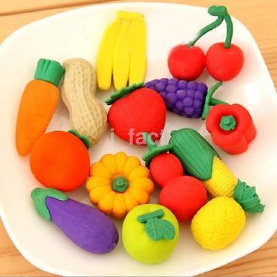 4Pcs Cute Food Rubber Pencil Eraser Set Stationery Novelty Children Party Gift U
