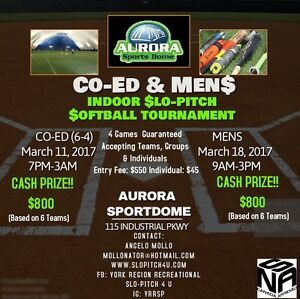 INDOOR SLO-PITCH SOFTBALL TOURNAMENT! CA$H PRIZE!!