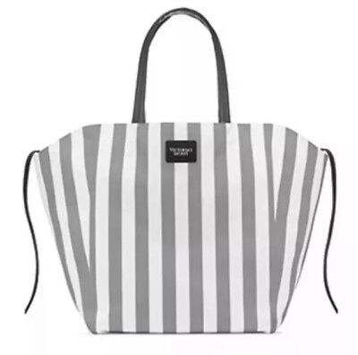 - NEW Victorias Secret White Gray Stripe Canvas 2018 Limited Ed Tote Weekend Bag