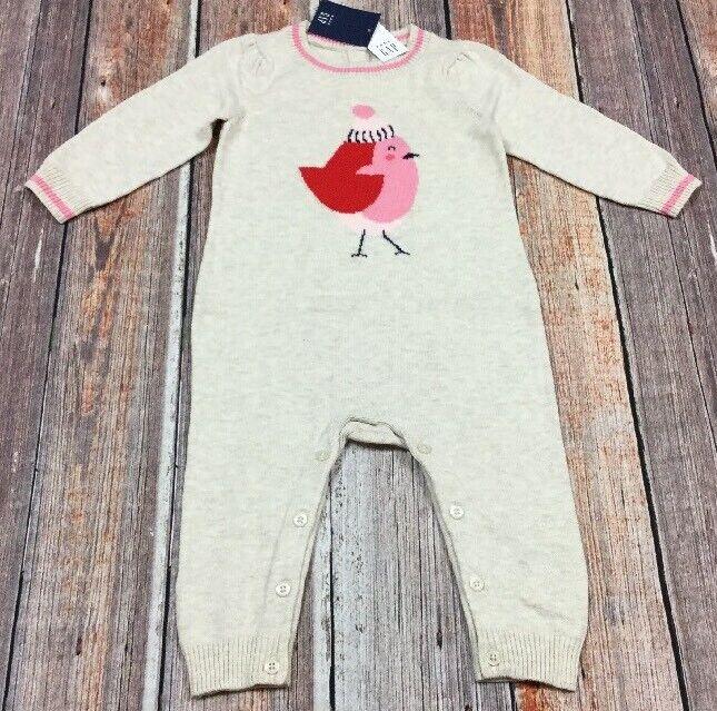 Baby Gap Girls 18-24 Months Pink Bird & Ivory Sweater One-Piece Romper. Nwt