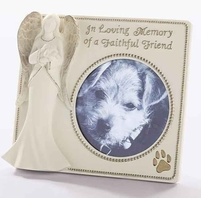 ROMAN Memorial Angel with Faithful Friend Dog Pet 4 x 4  Photo Frame #64031 NIB