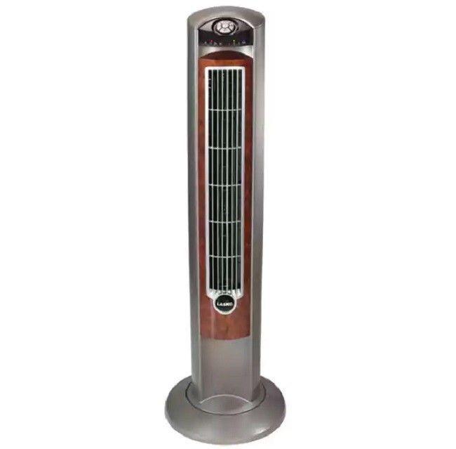 42-Inch Wind Curve Fan with Remote Fresh Air Ionizer, Woodgr