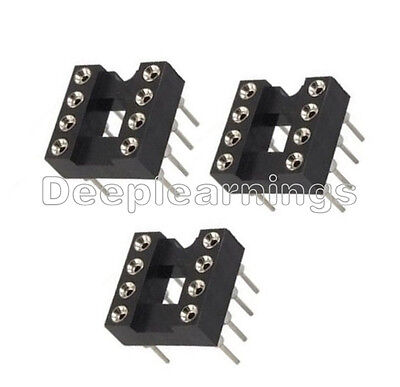100pcs 8pin Dip Sip Round Ic Sockets Adaptor Solder Type Plated Machined