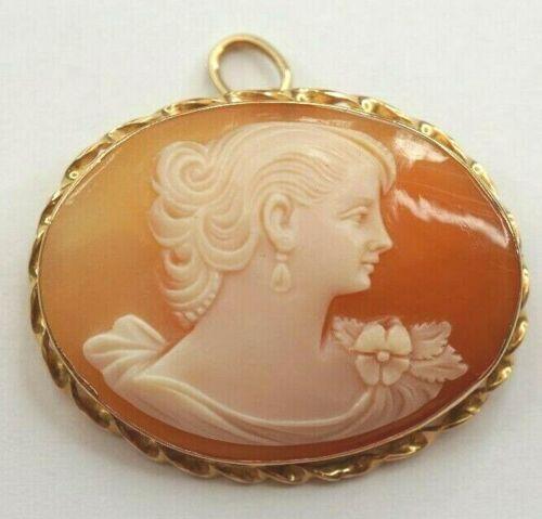 Vintage Cameo Set in 14k Gold .585 Bezel - Brooch Pin Pendant - WA15
