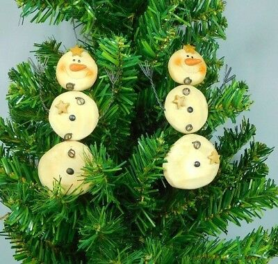 Snowball Ornaments (Set of 2 snowball snowmen ornaments with wire arms  -New Blossom Bucket)
