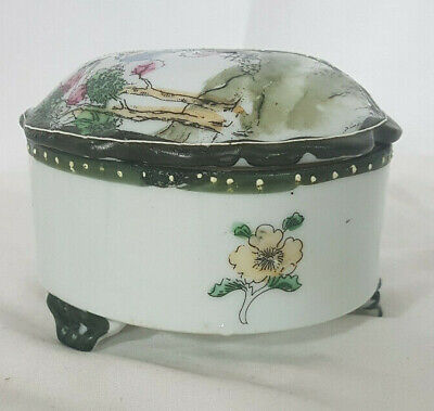 Hand Painted in Japan Floral 3-Footed Covered Jewellery Box Candy Dish