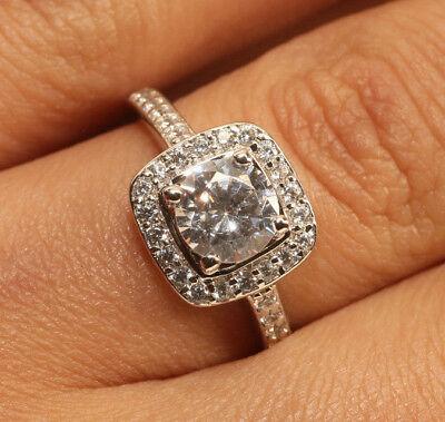 Diamond Engagemnt Wedding Ring in 18K White Gold Finish 1 Carat Size 5