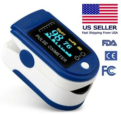 Fingertip Pulse Oximeter Blood Oxygen Spo2 Monitor Pulse Pi Rate - Blue