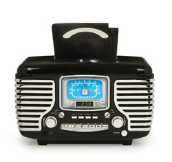 Crosley Retro Styled Dual Alarm Clock Radio AM/FM CD Player with Bluetooth Black