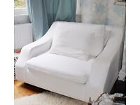 Love Seat -excellent condition/quality/white - solid wood frame, cotton washable covers
