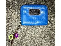 Small Paul's Boutique Coin Purse, Blue Leather With Charm Keyring.