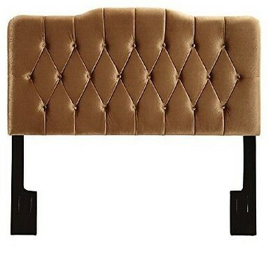 Prime Resources Upholstered Soft Shape Headboard Velvet Bronze King Gold New