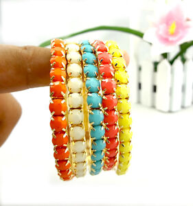 New-Arrived-Free-Shipping-5pcs-Set-Colorful-Beads-Gold-Plated-Stretch-Bracelet