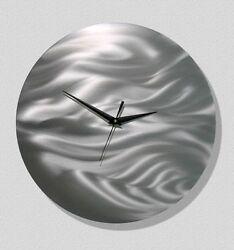 Metal Wall Art Clock - GREAT GIFT -Abstract Silver Modern Art Decor by Jon Allen