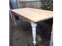 Reclaimed solid pine farmhouse dining table