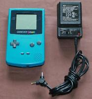 Teal Blue Gameboy Color & Power Adapter