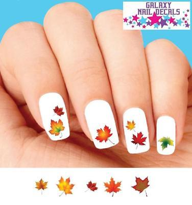 Assorted Leaves - Waterslide Nail Decals - Set of 20 Thanksgiving Fall Autumn Leaves Assorted