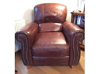 Sold pending collection - Chocolate leather settee and chairs (3 piece)