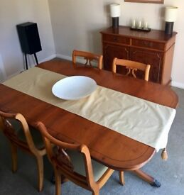 Dining table 4 chairs and two drawer cabinet. £195 ono
