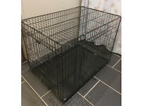 "Ellie-Bo Dog Puppy Cage folding 2 door crate with non-chew metal tray 36"" black"