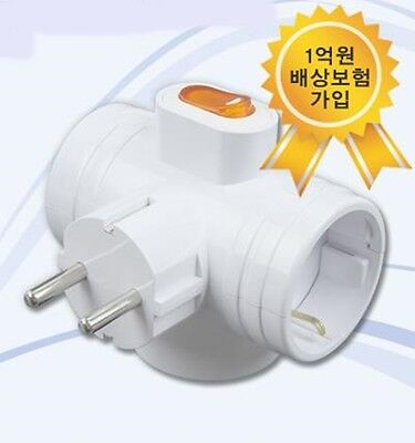 Korea 3Way T-Bone Power Safety Switch Multi Tap Plug Outlet Adapter Wall Socket