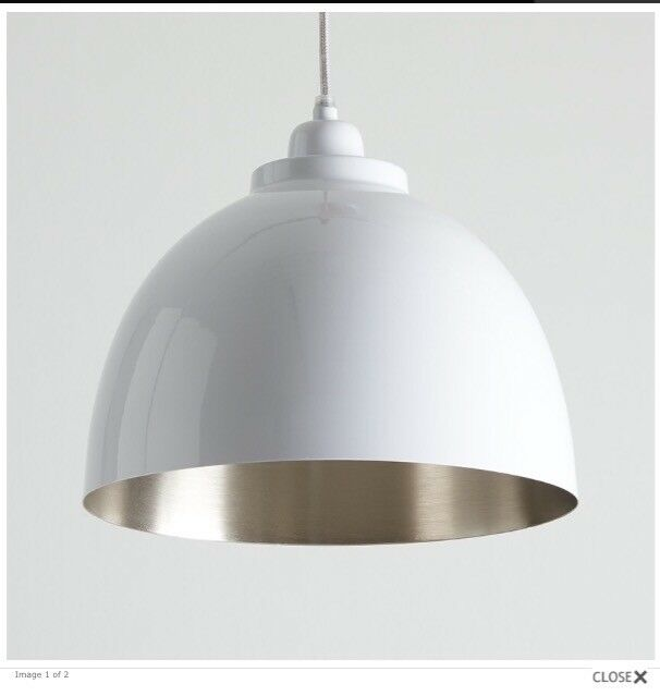 2 brand new white and nickel pendant lights - Horsfall and Wright