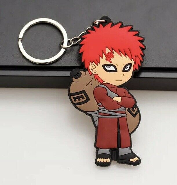 "Naruto Gaara Keychain Rubber Double Sided 2.5"" Anime US Seller"