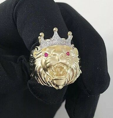 14 CT Yellow Gold Ring Unique Lion King Design with CZ Stones
