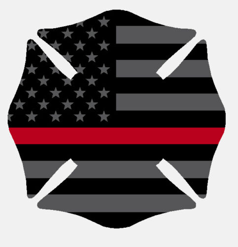 Black Subdued Reflective Thin Red Line Maltese Cross Flag Fire Helmet Decal 2 in