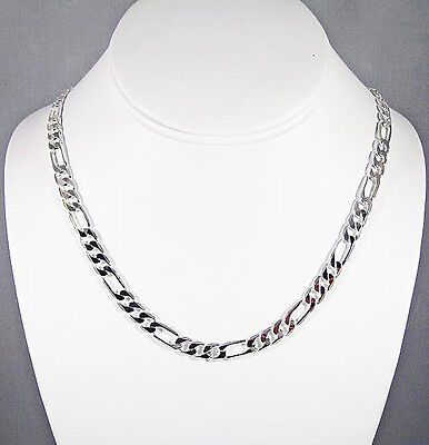 (MENS 6MM STERLING SILVER FINISH PREMIUM QUALITY FIGARO LINK CHAIN NECKLACE)