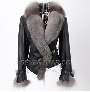 1261 R NEW Genuine Sheep Leather Coat Jacket with Silver Fox Fur Trimming collar